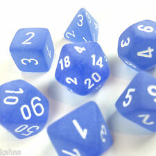 Chessex Dice Polyhedral Frost Blue - Set Of 7  White Numbers 27406 - Free bag!