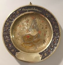 Vtg Nos Solid Brass Cloisonne Congratulations Baby Nursery Wall Plate #2074