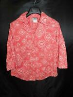 Columbia 1X Red White Floral Dot Print Shirt Snap Front V Neck 3/4 Sleeve Cotton