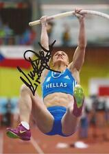 ATHLETICS: NIKOLETA KYRIAKOPOULOU SIGNED 6x4 ACTION PHOTO+COA *GREECE*