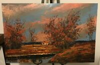 Large Vintage Morris Katz Original Painting on Board Dated 1963 - 36x24 Inches