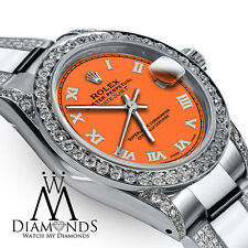 Women's 31mm Rolex SS Oyster Perpetual Datejust Orange Color Diamond Roman