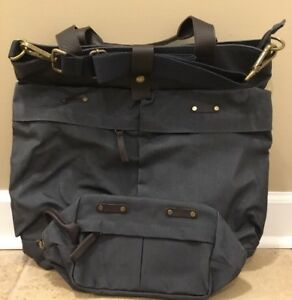 NEW 2PC Pottery Barn Jasper Luggage Tote / Backpack + Toiletry Bag BLUE CANVAS