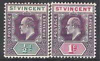 St Vincent 1904 purple/green 1/2d purple/carmine 1d multi-crown CA mint SG85/86