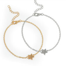 Fashion Women Girls Simple Star Charm Gold Silver Chain Bracelet Jewelry