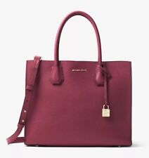 MICHAEL KORS Studio Mercer Large Pebbled Leather Tote Bag Mulberry NEW