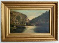 Antique Oil Painting Landscape Oil on Canvas signed EGB 1907
