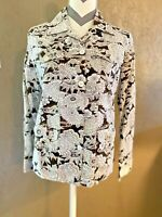 Womens Size 1 Chicos Jacket Button Down Long Sleeve Brown And White Jacket