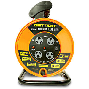 Detroit LEAD EXTENSION REEL WITH 4 OUTLETS 240V 10A 25m 3-Core 1.0mm² Heavy-Duty
