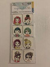 Paper Studio Agenda 52 Watercolor Girls Magnetic Clips 8 pk
