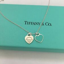 "RETURN TO TIFFANY Blue Enamel MINI DOUBLE HEART TAG 18"" Silver NECKLACE Pouch"