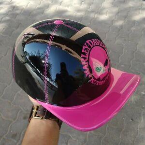 Custom Motorcycle Helmet Baseball Cap Style fiberglass Pink color free shipping