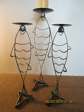 Set Of Three, Metal Fish Motif Candle Holders