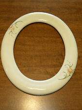 "Vintage Oval Picture Frame Porcelain With Flower Print 11"" x 13"" Frame Only"
