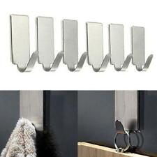 6PC Stainless Steel Self Adhesive Wall Door Holder Clothes Hat Hook Rack Hanger