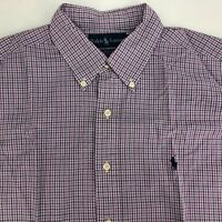 Ralph Lauren Yarmouth Shirt  Mens 16 1/2 Checked Long Sleeve Blue Purple Cotton