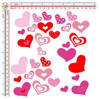 cuori rosa rossi adesivi sticker hearts auto moto helmet tuning print pvc 30 pz.