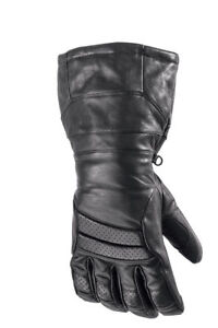 New 2017 Arctic Cat Touring Hi-Cuff Leather Snow Gloves ~ Blk ~ Med ~ # 5262-262