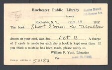 1918 Public Library Advises Book Past Due 2c Daily Late Fee W/WWI Rate See Info
