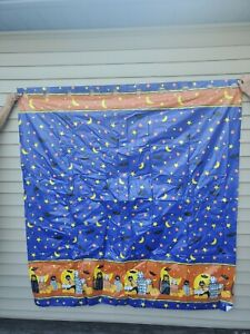 Vtg Halloween Zahner HOOKLESS Shower Curtain 100% VINYL 70x72 Cats Pumpkins Bats