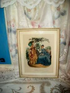 VINTAGE LA MODE FRENCH FASHION GODEY LADY PRINT 1800s DRESS CHIPPY CREAMY FRAME