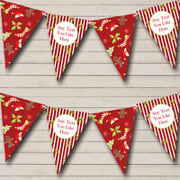 Holly Gingerbread Personalised Christmas Decoration Bunting Banner Garland