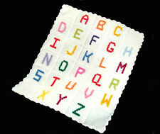 Handmade Crochet ABC Baby Blanket with Multi-Coloured Bobble Letters Nursery Cot