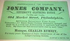 Rare Antique Victorian American Clothing Advertising Philadelphia, PA Trade Card