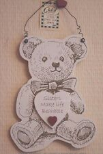 Sister Wall Plaque Sisters Make Life More Bearable Wooden Teddy Sign 26cm F1405E
