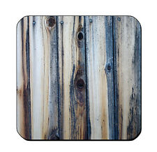 4 DRINK COASTERS - Wood #2 Teal Blue Gray glossy wood bar country rustic