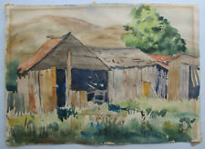 Found art Old barn Watercolor on paper Signed L. Booth Vintage original painting