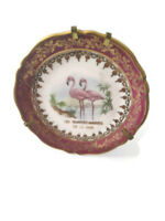 Vintage Limoges France Porcelain Mini-plate pink flamingo & Gold Scalloped Edge
