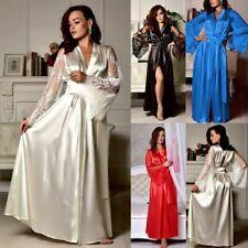 Women Satin Lace  Babydoll Long Nightdress Silk Lingerie Nightgown Sleepwear Rob