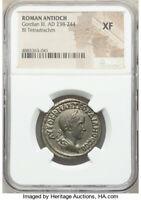 Roman Antioch Gordian III AD 238-244 BI Tetradrachm NGC XF