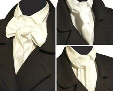 BIANCO avorio in taffetà Self Cravatta Cravatta jabot vittoriana Steampunk Matrimonio Ascot Goth