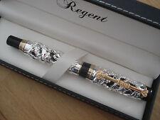 Somptueux stylo argenté plume or,Regent,Collector,Legende dragons,luxe