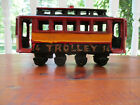 Vintage Cast Iron Toy TROLLEY Street Car #14 Painted Metal