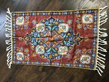 Kashmiri Crewel Silk Ari Aari Chain Stitch Embroidery 2' x 3' Rug Floral