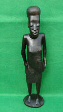 STANDING AFRICAN NATIVE  FIGURE IN BEAUTIFULLY CARVED EBONY WOOD