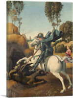 ARTCANVAS Saint George and the Dragon 1506 Canvas Art Print by Raphael
