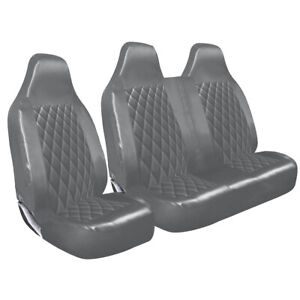 VAUXHALL MOVANO - GREY QUILTED DIAMOND LEATHER VAN SEAT COVERS SINGLE + DOUBLE