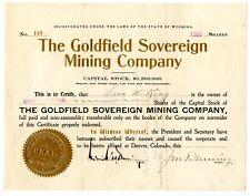Wyoming Goldfield Sovereign Mining Company Stock.