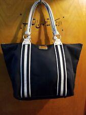 Michael Kors Black X Large Canvas Tote Shoulder Bag Top zip Leather handle