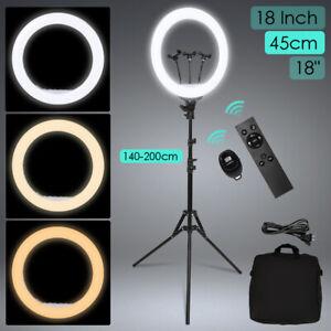 "18"" LED Ringlicht 45cm Ringleuchte Lampe Make-up Dimmbar 200cm Stativ Fotolicht"