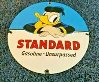 VINTAGE STANDARD GASOLINE PORCELAIN GAS DONALD DUCK WALT DISNEY PUMP SIGN