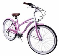 "LADIES AMERICAN USA CALIFORNIAN STYLE BEACH CRUISER BIKE 6 SPEED 16"" FRAME CYCLE"