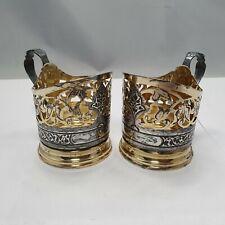 2 russische Art Deco Teeglashalter Silber 875  Tula Silber feuervergoldet #2