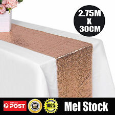 2.75m*30cm Rose Gold Sequin Table Runner Wedding Party Bling Decoration Sashes