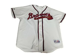 Mens Atlanta Braves Stitched Majestic Jersey Sz L White Mlb