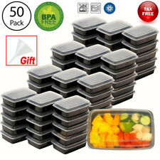 50x Meal Prep Containers Plastic Food Storage Reusable Microwavable Compartment